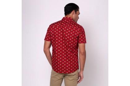 monsieur NICOLE Maroon Printed Short Sleeves Shirt