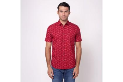 monieur NICOLE Maroon Printed Short Sleeves Shirt
