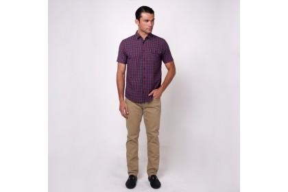 monsieur NICOLE Red Woven Cotton Checks Short Sleeves Shirt