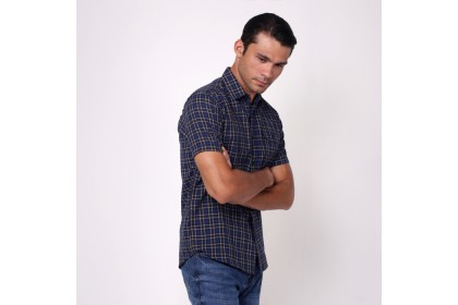 monsieur NICOLE Blue Woven Cotton Checks Short Sleeves Shirt