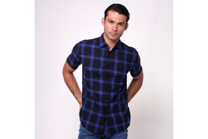 monsieur NICOLE Navy Woven Cotton Checks Short Sleeves Shirt