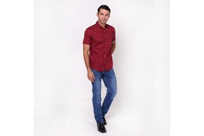 monsieur Nicole Satin Maroon Short Sleeves Shirt