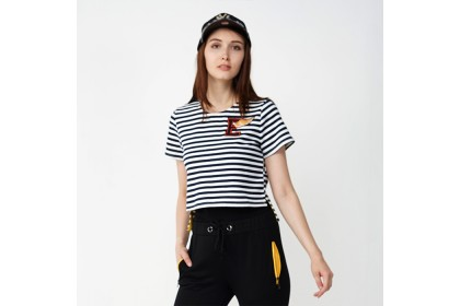 Eighteen Plus Striped Knitted Crop Top With Patch Detail