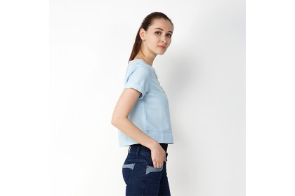 Eighteen Plus Woven Crop With Embroidery Detail
