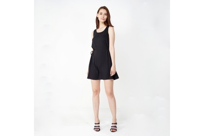 NE Double S Round Neckline Sleeveless Waist With Drawstring Mini Dress