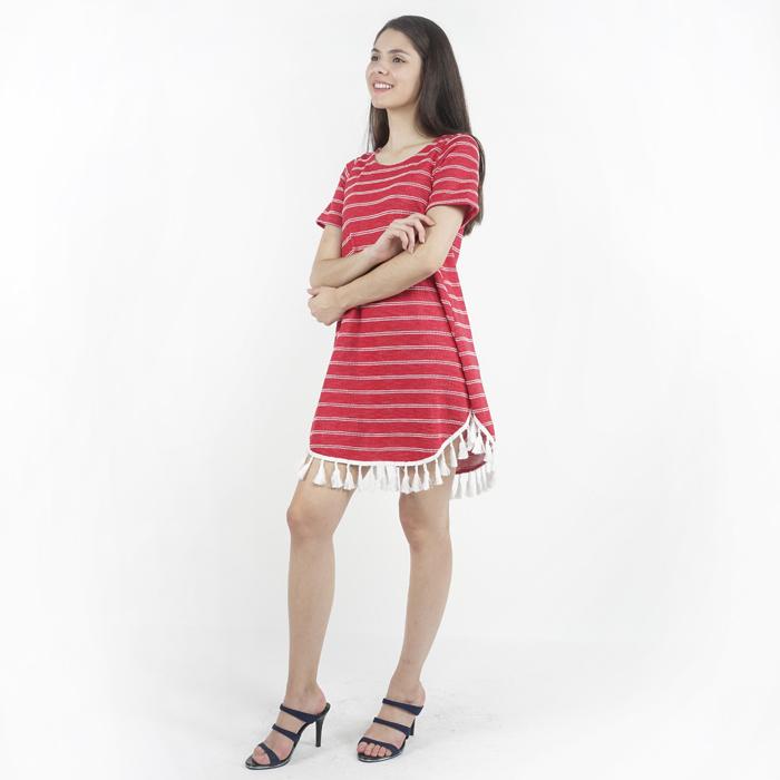 97a0f1f3504b Eighteen Plus Fringe Trim Striped Knitted Mini Dress