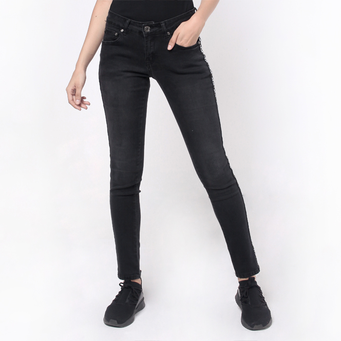 Skinny Fit Tapered Jeans With Tape Trimming