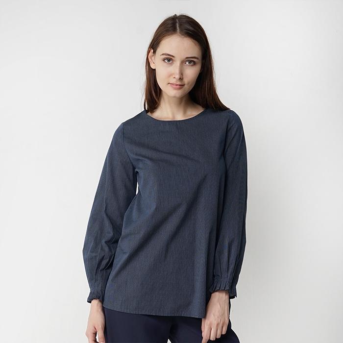 Plain Color Round Neckline Long Sleeve Blouse