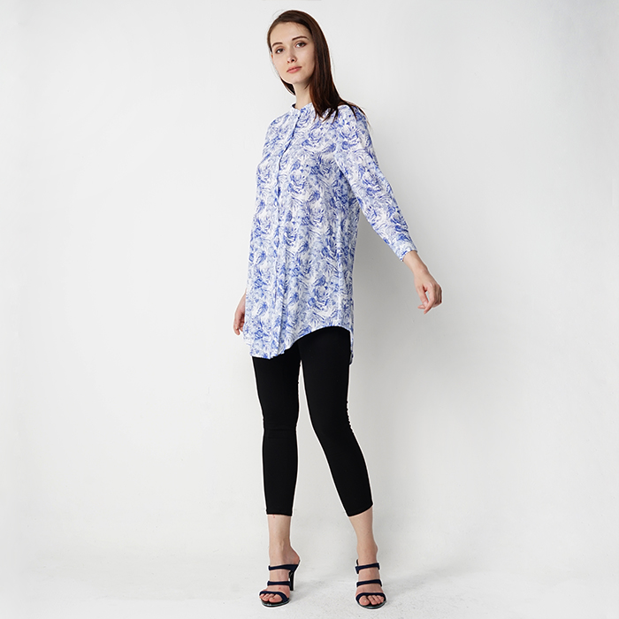 High Neckline Long Sleeve Long Printed Blouse