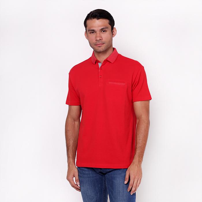 Jacquard Short Sleeve Red Polo Shirt