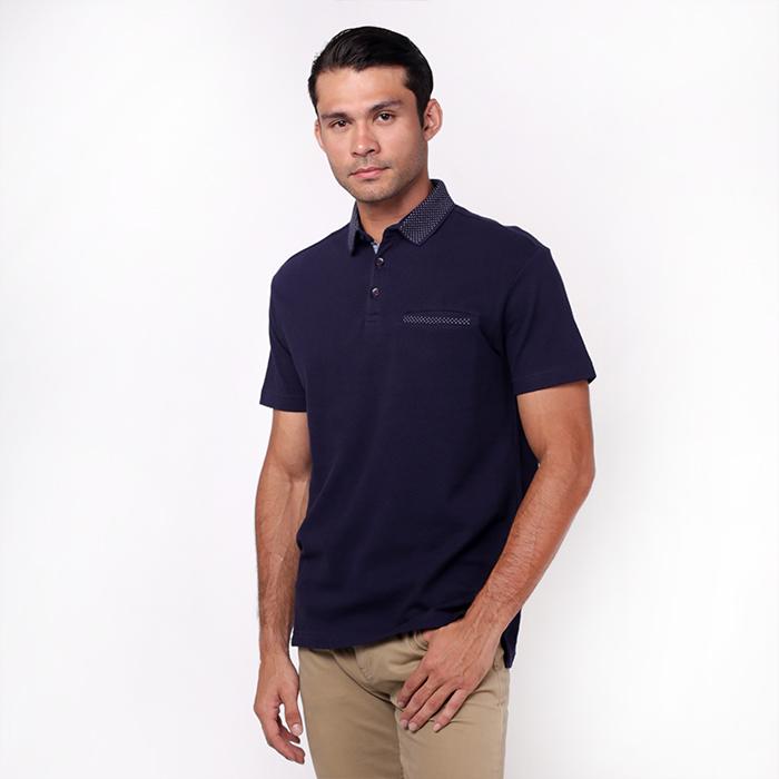 Jacquard Short Sleeve Navy Polo Shirt