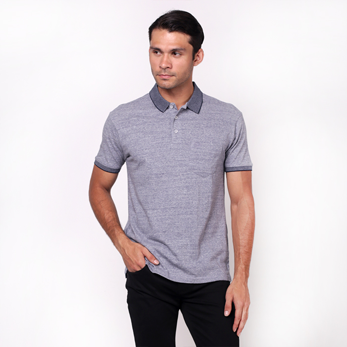 Melange Blue Single Jersey Polo Shirt With Embroidered Details