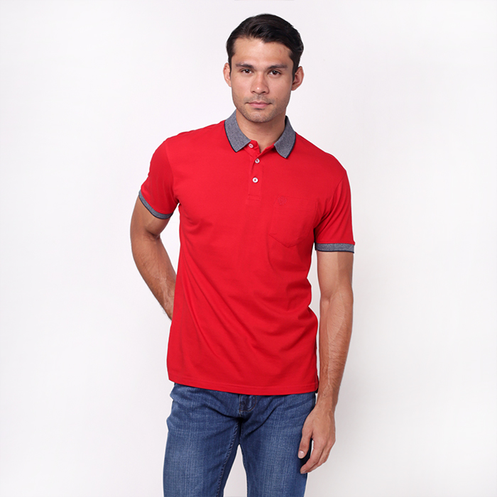 Red Single Jersey Polo Shirt With Embroidered Details