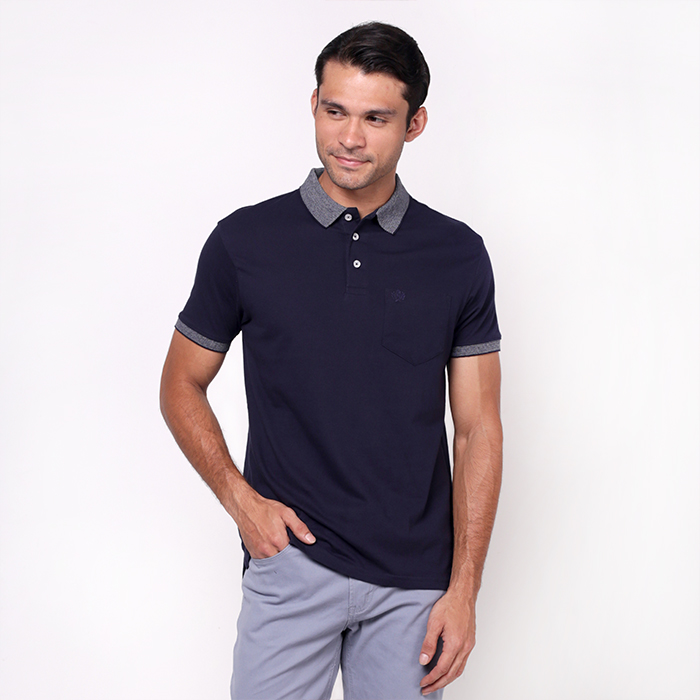 Navy Single Jersey Polo Shirt With Embroidered Details