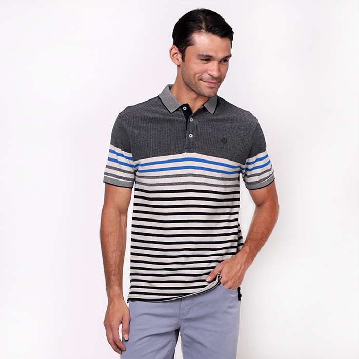 Black Blocked Stripe Polo Shirt With Embroidered Details