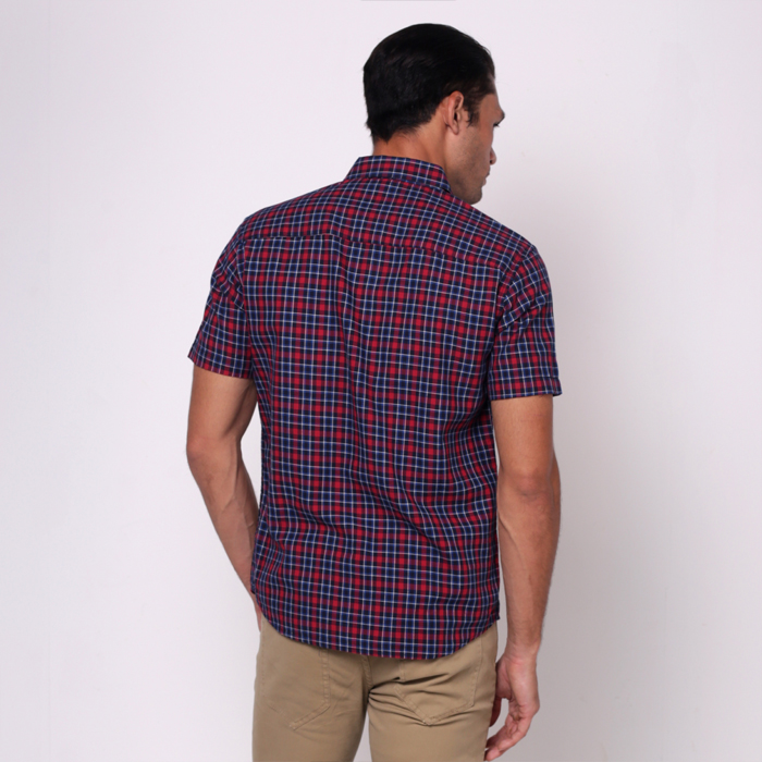 monsieur NICOLE Red Woven Cotton Checks Short Sleeves Shirt