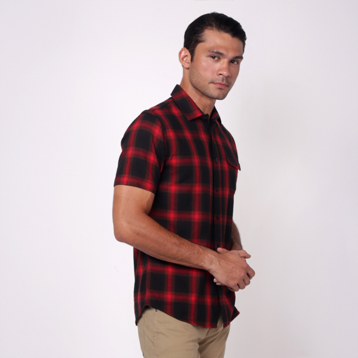 monsieur NICOLE Red Color Woven Cotton Checks Short Sleeves Shirt
