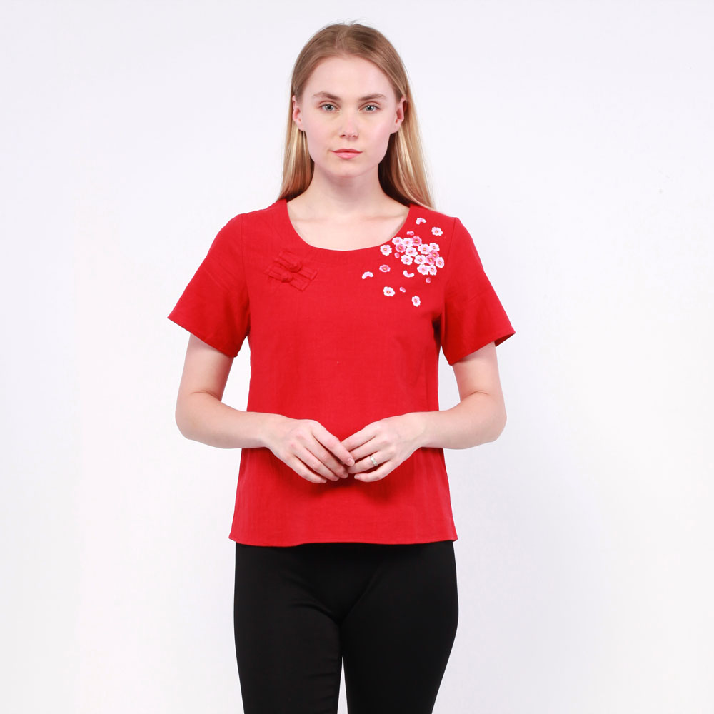 Ne Double S-Short Sleeve Blouse with Embroidery and Chinese Knot Button Detail